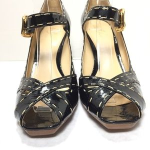 LillyBee Shoes - Lillybee Black Patent Leather Peep Toe Heels 10 B